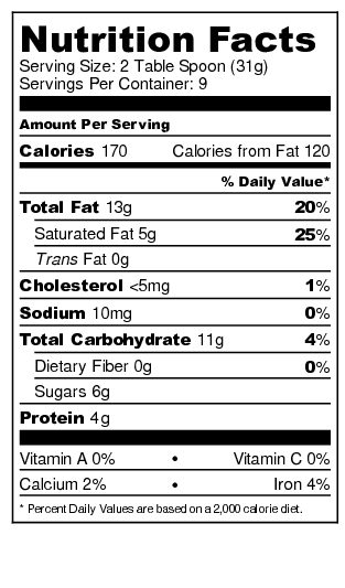 Cream & Cookies- Nutrition Label
